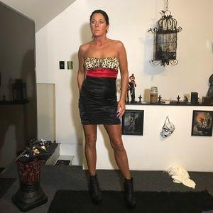 satiny strapless mini dress